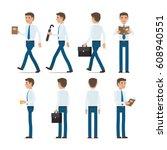 businessman character... | Shutterstock .eps vector #608940551