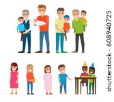 fathers and grandfathers... | Shutterstock .eps vector #608940725