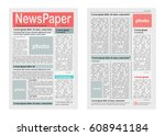Two Pages Of Newspaper Vector...