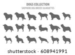 shepherd dog breeds  sheepdogs... | Shutterstock .eps vector #608941991