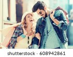 young happy couple with... | Shutterstock . vector #608942861