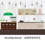 illustration of modern kitchen...   Shutterstock .eps vector #608944541