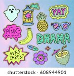 trendy fashion stickers or...   Shutterstock .eps vector #608944901