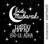 eid mubarak and happy eid ul... | Shutterstock .eps vector #608950655