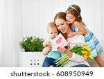 happy mother's day  children... | Shutterstock . vector #608950949
