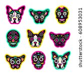 fashion patch badges with dogs  ... | Shutterstock .eps vector #608953031