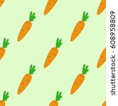 seamless pattern with carrots | Shutterstock .eps vector #608958809