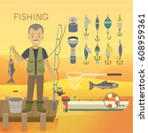 fishing concept. vector... | Shutterstock .eps vector #608959361