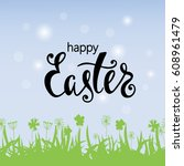 happy easter greeting card.... | Shutterstock .eps vector #608961479