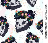 seamless pattern with dead girl....   Shutterstock .eps vector #608962655