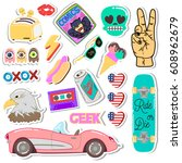 pop art fashion chic patches ... | Shutterstock .eps vector #608962679