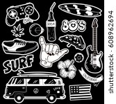 black and white fun set of pop... | Shutterstock .eps vector #608962694