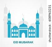 eid mubarak with mosque on a... | Shutterstock .eps vector #608963231