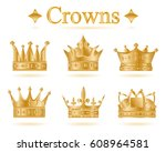 set of gold king crown or pope... | Shutterstock .eps vector #608964581