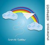 paper plane flying between... | Shutterstock .eps vector #608966435