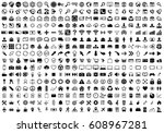 black internet web icons... | Shutterstock .eps vector #608967281