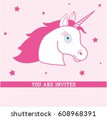birthday card with unicorn.... | Shutterstock . vector #608968391