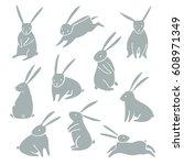 vector rabbit  bunny icon...   Shutterstock .eps vector #608971349