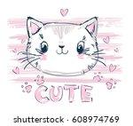 hand drawn cute cat vector... | Shutterstock .eps vector #608974769