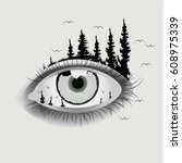 an eye that is condensed in the ... | Shutterstock .eps vector #608975339