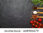 colorful spices in spoons and... | Shutterstock . vector #608983679