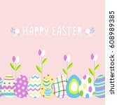 happy easter cute poster with... | Shutterstock .eps vector #608989385