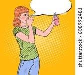 pop art young woman spraying...   Shutterstock .eps vector #608992481