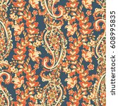paisley seamless floral pattern.... | Shutterstock .eps vector #608995835