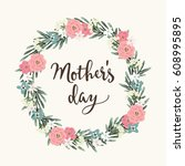 mothers day greeting card ... | Shutterstock .eps vector #608995895