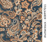 paisley seamless pattern.... | Shutterstock .eps vector #608997011