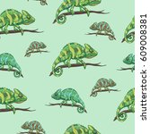 vector seamless pattern with... | Shutterstock .eps vector #609008381