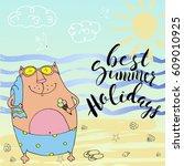 best summer holidays.lovely cat ... | Shutterstock .eps vector #609010925
