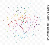 many falling colorful tiny... | Shutterstock .eps vector #609011399