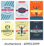 run club 6 colorful posters set.... | Shutterstock .eps vector #609013499