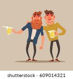 two drunk friends men... | Shutterstock .eps vector #609014321