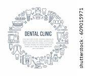 dentist  orthodontics medical... | Shutterstock .eps vector #609015971