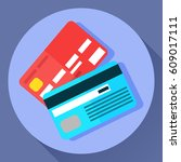 vector icon of two bank payment ... | Shutterstock .eps vector #609017111