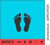 footprint icon flat. simple... | Shutterstock .eps vector #609019034