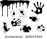 hand print   began to flow... | Shutterstock .eps vector #609019349
