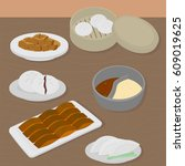 set of chinese food flat design ... | Shutterstock .eps vector #609019625