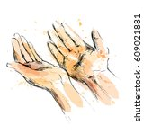 colored hand sketch begging... | Shutterstock .eps vector #609021881