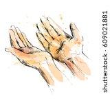 colored hand sketch begging... | Shutterstock .eps vector #609021881