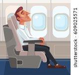 passenger man character sitting ... | Shutterstock .eps vector #609025571