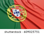 portugal flag. wavy fabric high ... | Shutterstock . vector #609025751