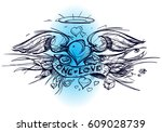 contour sketch of a heart with... | Shutterstock .eps vector #609028739