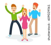 happy group of young people.... | Shutterstock .eps vector #609029561