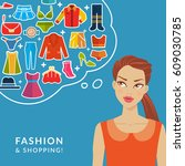 fashion and shopping. vector... | Shutterstock .eps vector #609030785