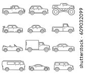cars  icons set. means of... | Shutterstock .eps vector #609032099