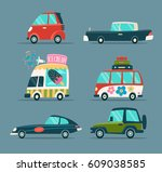 urban cartoon cars icons set in ... | Shutterstock .eps vector #609038585