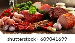 variety of meat products... | Shutterstock . vector #609041699